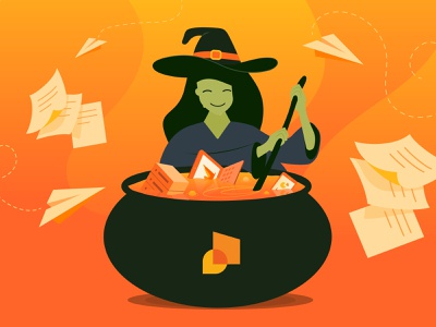 Office Brew stir cauldron paper paper airplane spooky potion brew witch halloween illustrator illustration