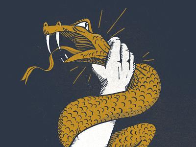 He Fights With Us evil vs good illustration hand snake