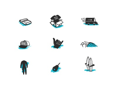 Surf Icons summer shipping shaka wave surfboard wetsuit hat wax illustration icons surfing surf