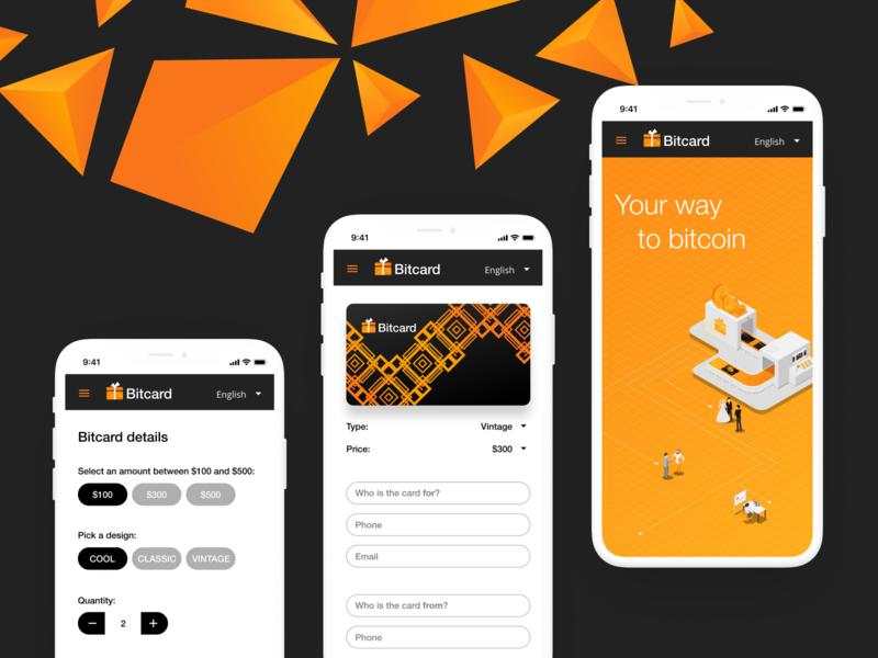Bitcard - mobile version application orange mobile inputs brand branding design app illustration ux ui branding design