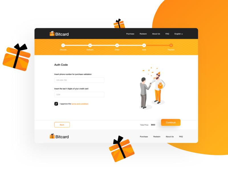 Bitcard - desktop logo button header footer input illustrations application app bitcoin design desktop