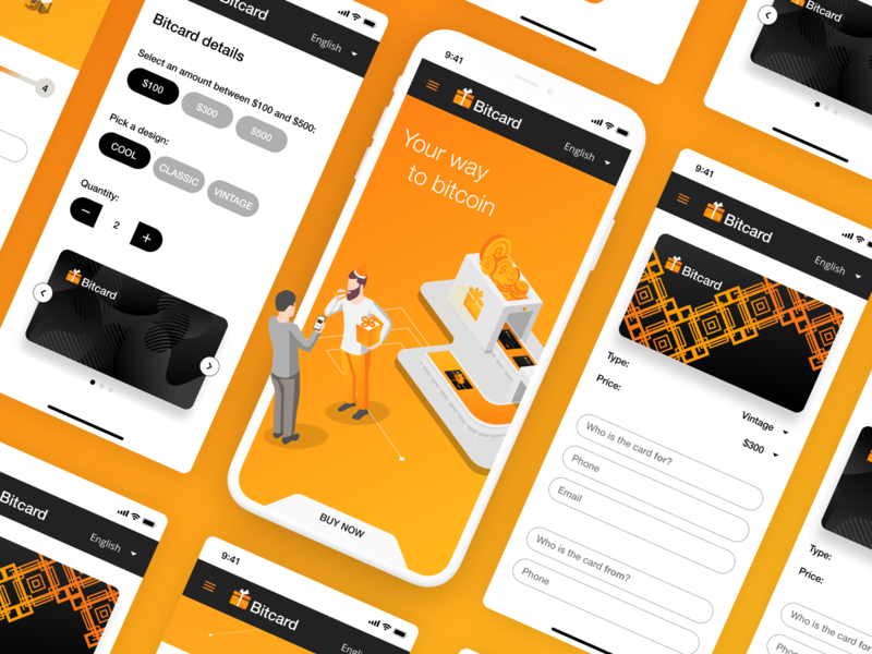 Bitcard - mobile crypto application mobile app design mobile bitcoin