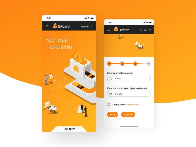 Bitcard branding brand logo design illustration vector ui crypto bitcoin coin orange application app