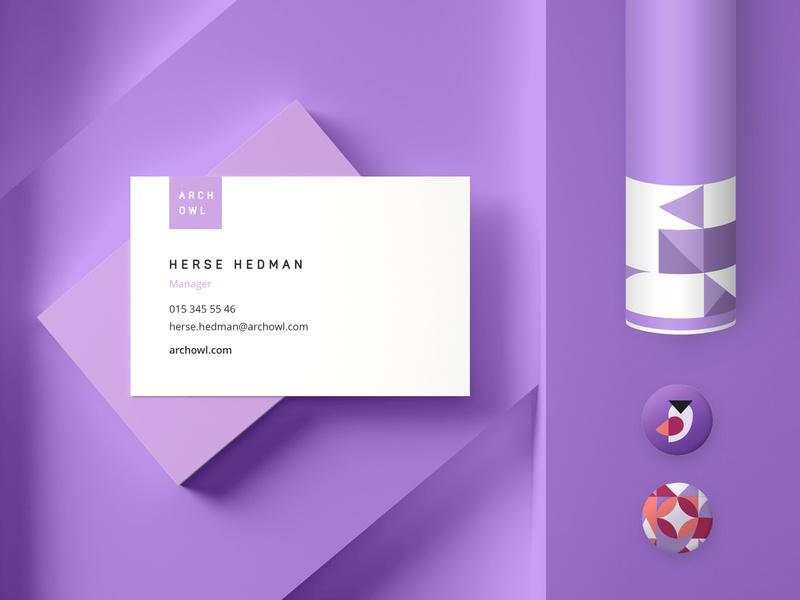 Arch Owl Business Card Concept owl flat violet identity illustrator ux ui icon minimal website lettering vector logo design typography illustration logo brand branding design design branding