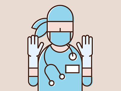 Surgeon surgeon doctor hospital icon illustration linear flat