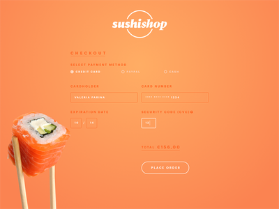 Daily UI #002: Credit Card Checkout restaurant sushi form checkout ui daily daily ui