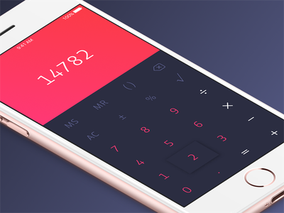 Daily UI #004: Calculator red color simple minimal calculator iphone ios app ui daily daily ui
