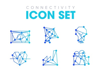 Connectivity icon set connections blue gradient technology tech icons set icon