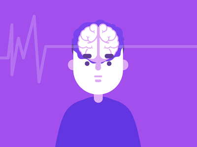 Brain-dead medical illustration violet purple monochromatic dead brain