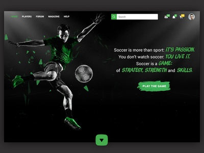 Landing page: Soccer sports sport brush particles texture green web landing soccer
