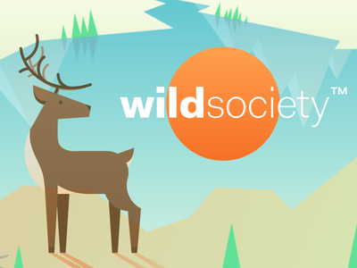 Wild Society landscape fishing hunting product design ux design ui design logo sun deer animals illustration app