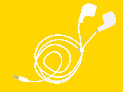 Messy headphones yellow bag jack iphone ear headphones