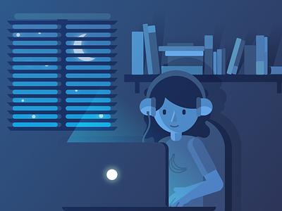 Working late designer banana light dark night vector illustration work blue mac computer