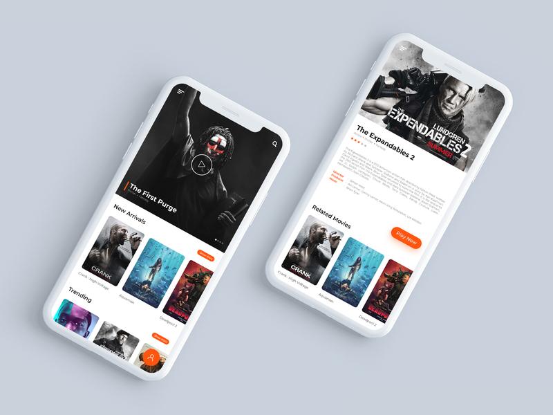 Movie App orange white black movie app ui movie app photoshop ux design ui desgin graphic  design