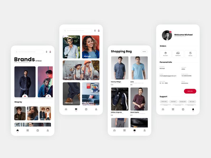E - Commerce App UI illustraion ui design white graphic  design photoshop illustration interaction design app  design ux design ui design