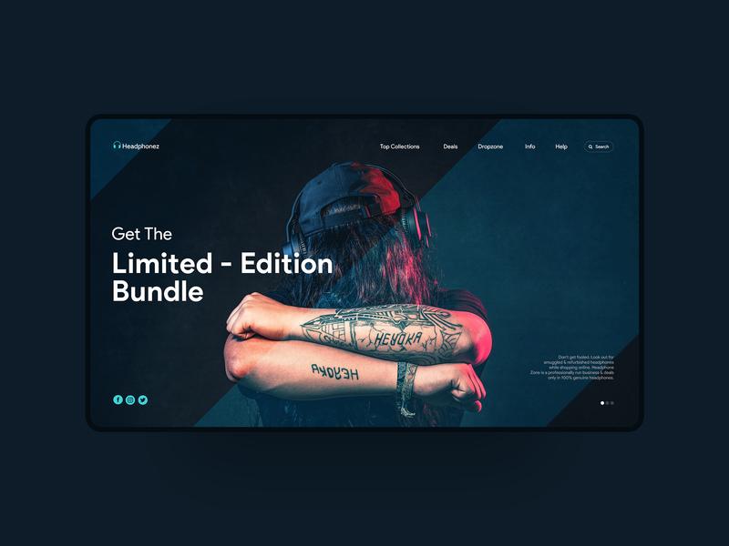 Headphones Website UI Concept website design webui webdesign website vector ui illustration interaction design photoshop design ui design ux design graphic  design