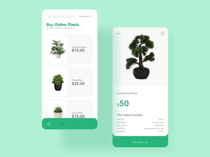 Online Plant Store app ui design mobile ui vector illustration design ui interaction design app  design ux design ui design graphic  design photoshop