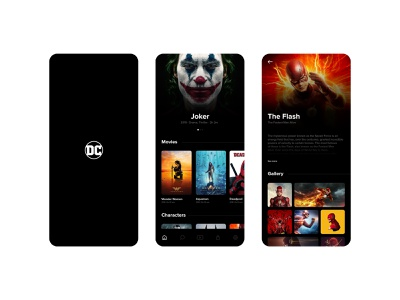 DC (Movies and characters) Application Concept Desgin darkmode black dark dcmovies dccomics dc webui vector illustration design ui interaction design app  design ux design ui design graphic  design photoshop