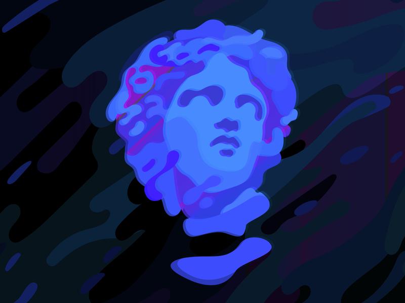 Gypsum statue head. Wavy Psychedelic blue background.