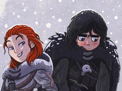 Ygritte & Jon Snow  illustration game of thrones fanart procreate ipad jon snow ygritte