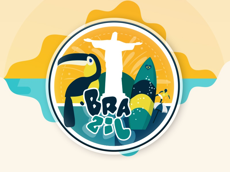 Brazil Sticker for @Sticker Mule contest design colors playoff illustration football bird surf stickermule sticker brazil
