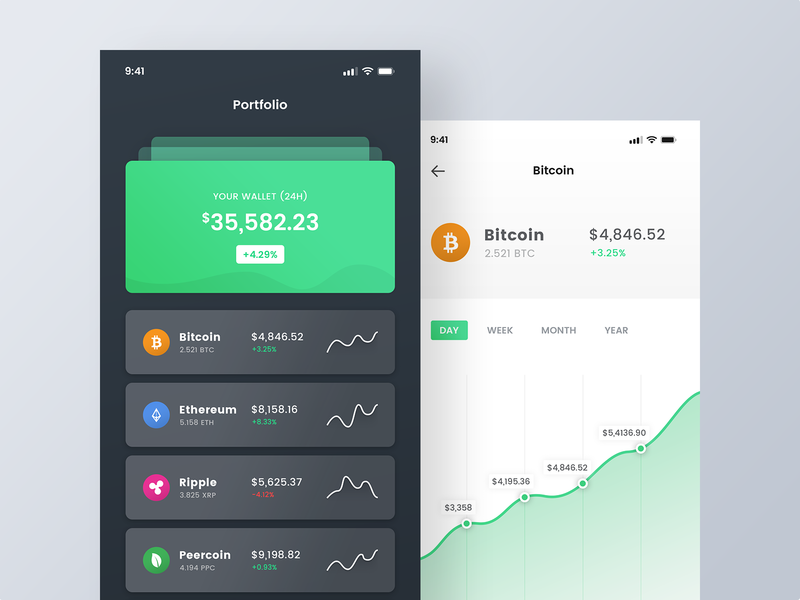 Personal Cryptocurrency Portfolio - Dark and Light Version mobile ios money coins bitcoins fund investment portfolio cryptocurrency