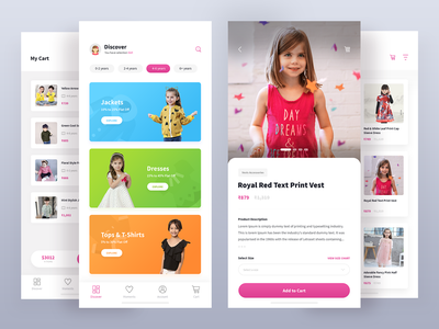 Hopscotch - Mobile App Redesign uiux design ios agileinfoways babies toys shopping cart app ecommerce jackets tops dress clothes kids