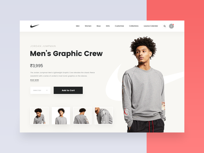 Nike - Product Page Design clothes cart ecomm men crew product nike