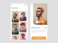 eCommerce Mobile App wishlist cart mens style clothes tshirt shop app ecommerce