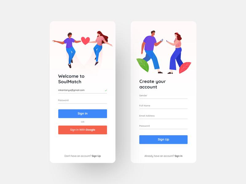Dating App - Sign In & Sign Up UI Design illustration match soul signup login love dating datingapp