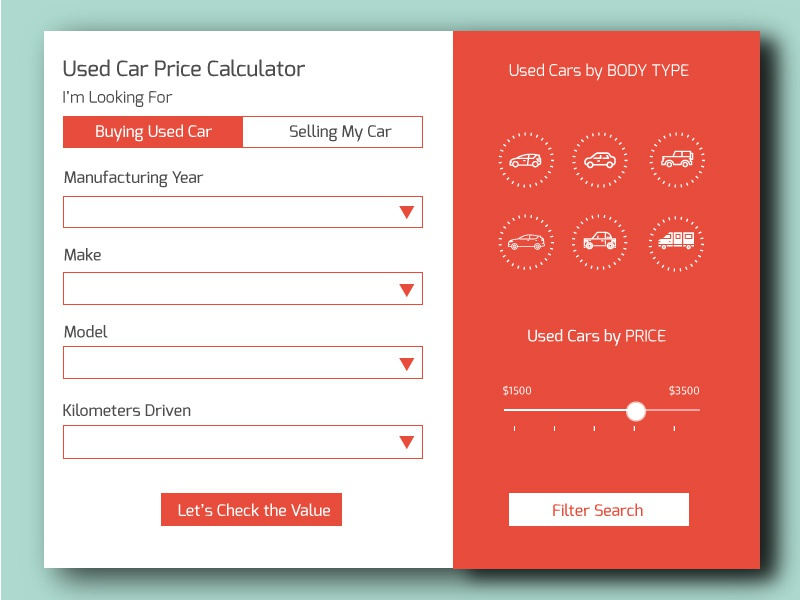 Daily Ui 004 Used Car Price Calculator By Avijit Majumder
