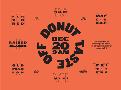 Donut Taste Off party donut layout typography type knockout