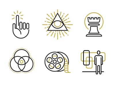 Services icons illustration line gold interactive brand content strategy eye chess video reel environmental