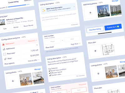 UI components for property listing app real estate app property listing photo upload input form field text field form button ui design real estate app design ui library ui ux design library design components design system figma
