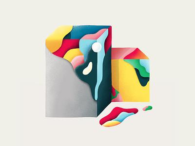 Wet blocks illustrator draw paint photoshop colorful blocks abstract artwork graphicdesign illustration