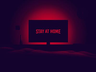 Stay At home coronavirus tv show chilling landscape artwork design netflix illustration