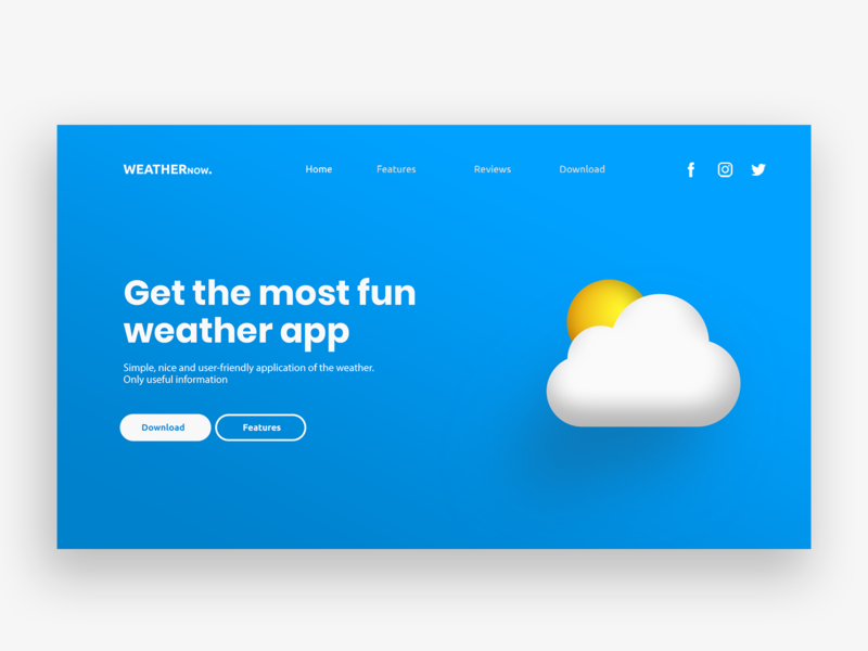 Landing Page - WeatherNow illustration clean landing website ux ui minimal colors design landing page