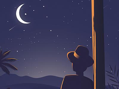 The moonlight vector flat design branding logo portrait lanscape night stars moonlight illustraion aid