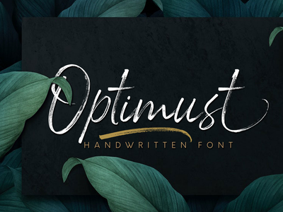 Optimust | Handbrush Font logos product design script fonts lettering handlettering social media posts product packaging typography branding advertisements