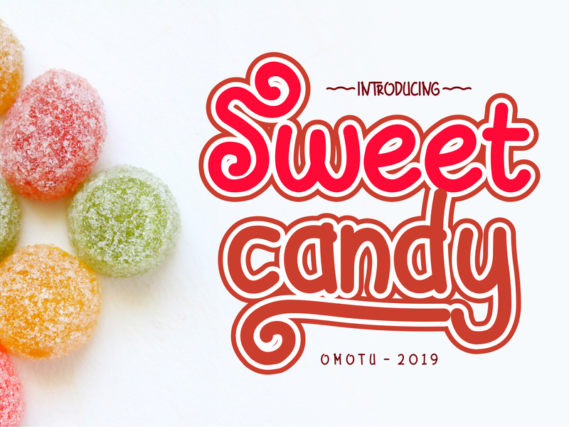 Sweet Candy (FREE FONT) product packaging fun font design packaging design social media posts logos advertisements lettering typography script fonts handlettering caligraphy branding