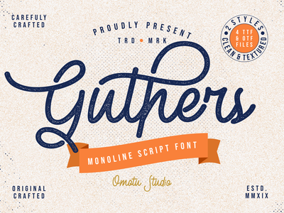 Guthers - Monoline Script Font (FREE FONT) watermark product packaging script fonts advertisements fonts product design social media posts logos caligraphy lettering handlettering branding typography retro font vintage font