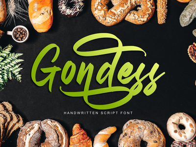 Gondess - Handwritten Script Font apparel lettering product design script fonts logotype product packaging social media posts typography advertisements handlettering branding