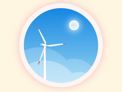 Windmill with blue sky cloud view sky blue windmill minimal illustration flat illustration flatdesign design circle