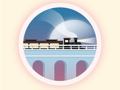 Travel by train moon bridge steam train train vector travel sky view minimal illustration flat illustration flatdesign circle