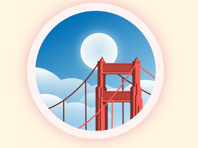 Golden Gate Bridge under the blue sky vectors blue design travel cloud vector sky illustration bridge view minimal flat illustration flatdesign circle