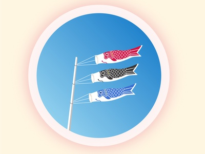 Koinobori under the sky japan vectors flag design blue vector travel sky illustration view minimal flat illustration flatdesign circle