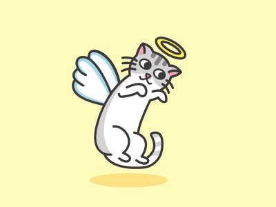 Angel Cat cute lovely character design angle pet animal cat logo vector illustration flat illustration flatdesign