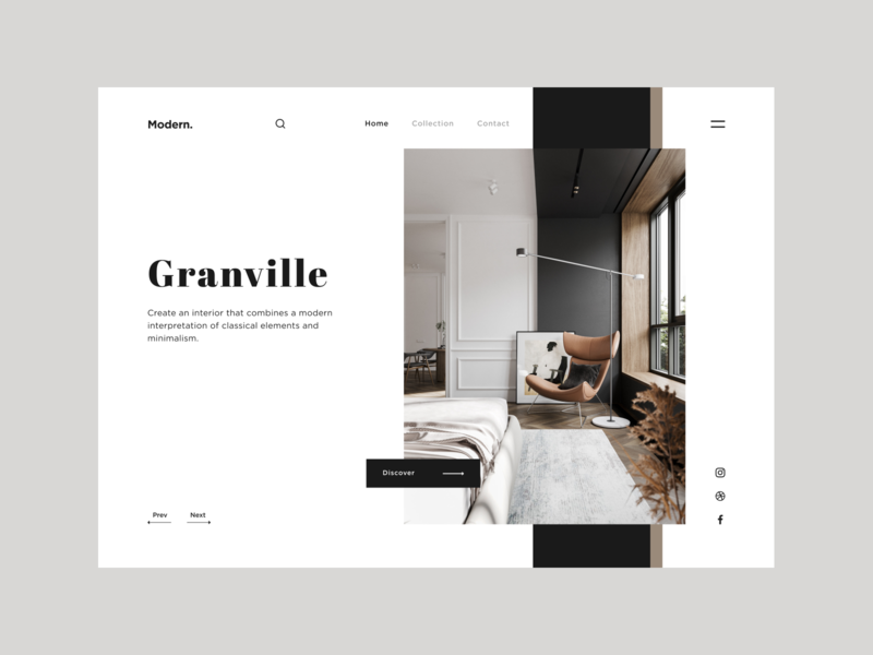 Granville. flat landing page landing classic interior webdesign web design minimalism