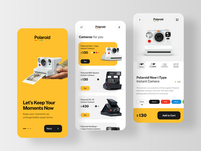 #Exploration - Polaroid Camera Mobile App ecommerce camera clean mobile app ux user interface flat website design ui minimal