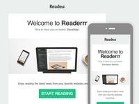 Readerrr's responsive welcome email